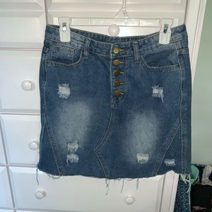Distressed jeans skirt